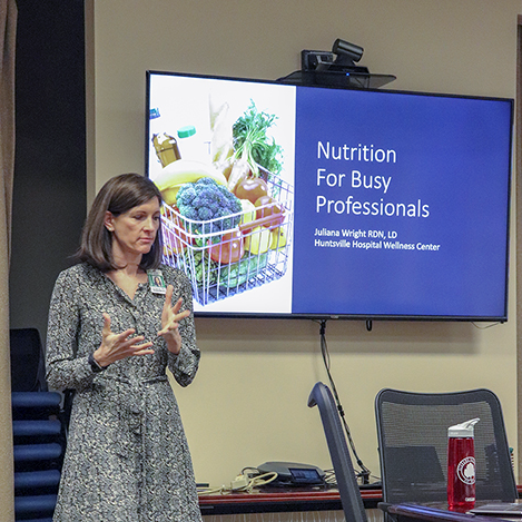 Juliana Wright RDN, LD from Huntsville Hospital Wellness Center presents a nutrition seminar for COLSA YoPro, March 2019